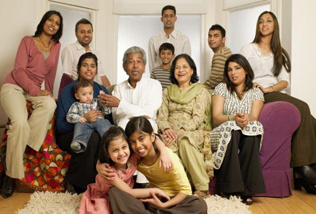 SENIORS in multi racial family